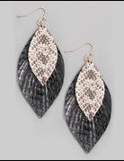 Layered Leather Leaf Earrings