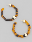 Acetate Octagon Hoop Earrings