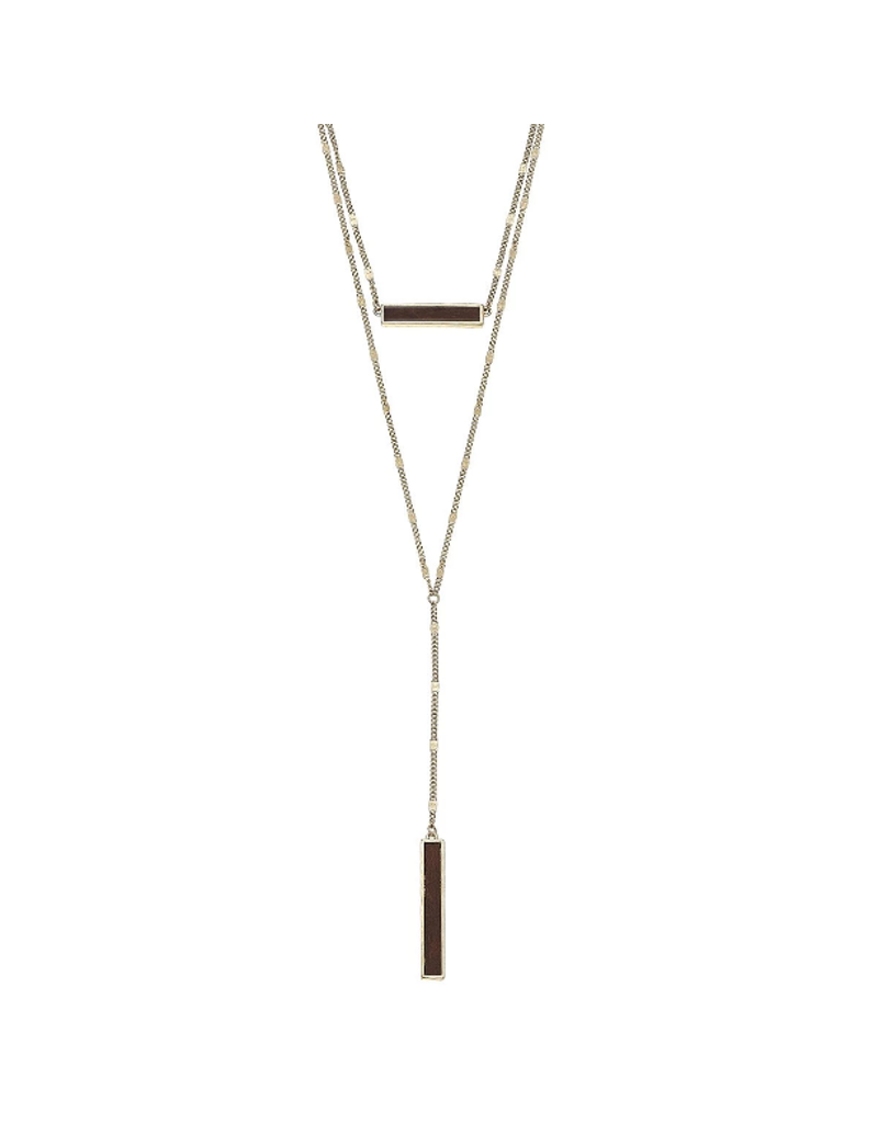 Layered Wood Bar Necklace
