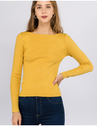Ribbed Boatneck Long Sleeve Top