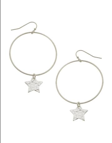 Star Drop Hoop Earrings