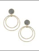 Druzy Double Ring Drop Earrings