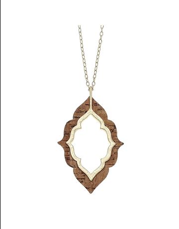 Cork Quatrefoil Pendant Necklace