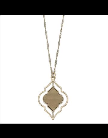 Wood Quatrefoil Pendant Necklace