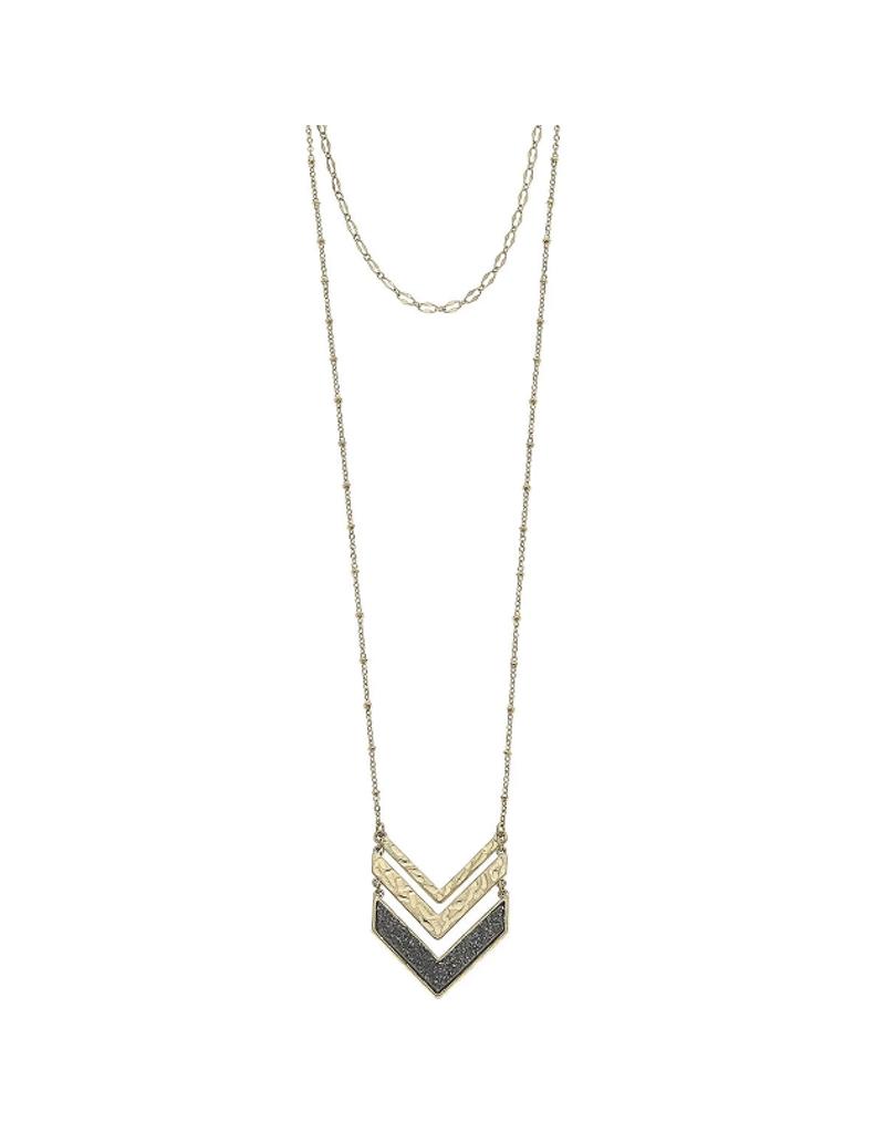 Layered Chevron Druzy Necklace
