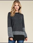 Crew Neck Blocked Sweater