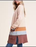 Fluffy Color Blocked Cardigan