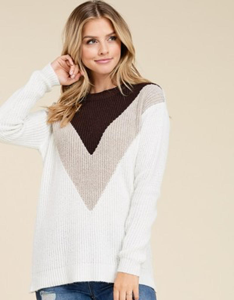 Knitted Crew Neck Blocked Sweater