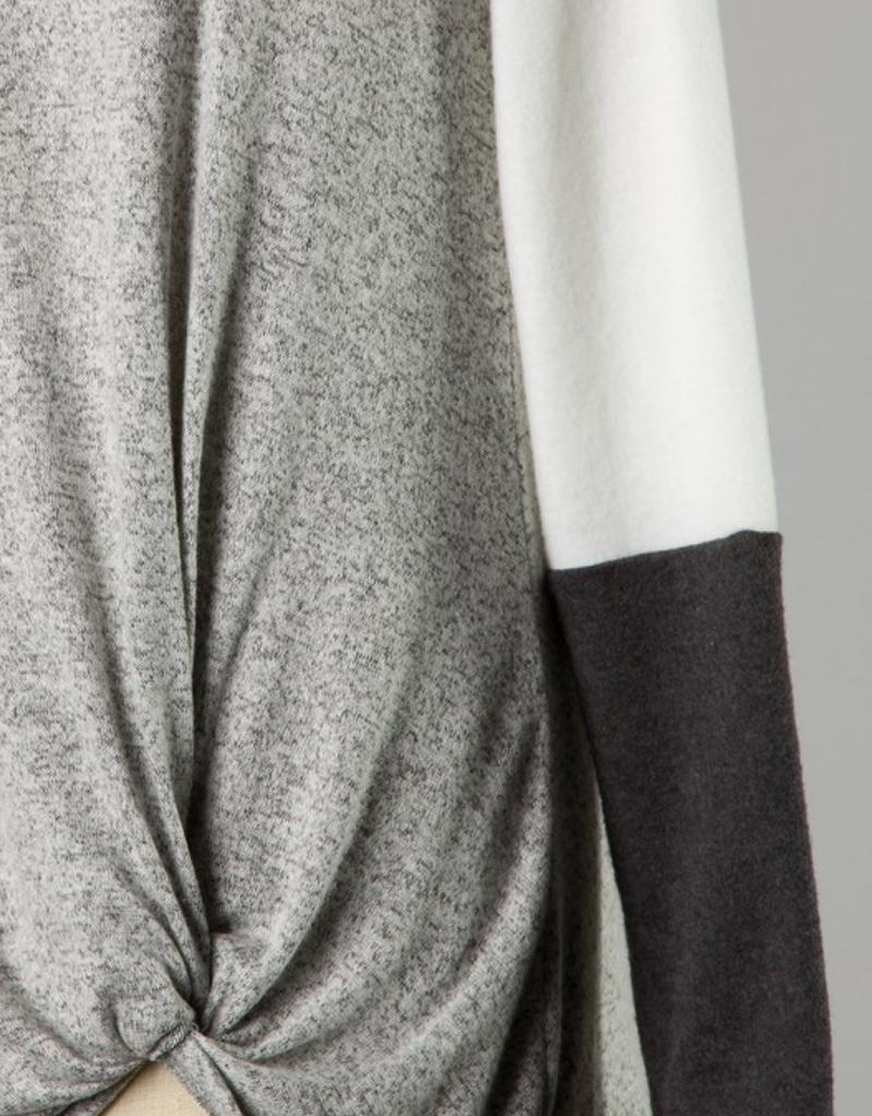 Color Block Front Twist Knit Top