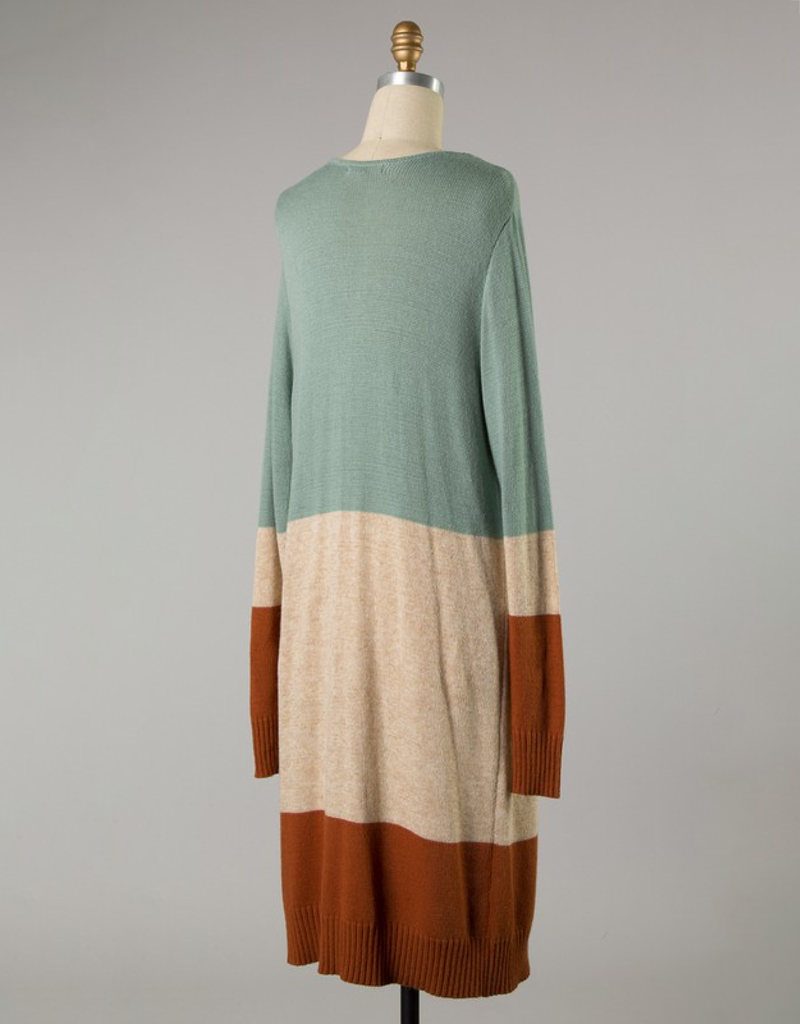 Color Block Knit Long Body Cardigan