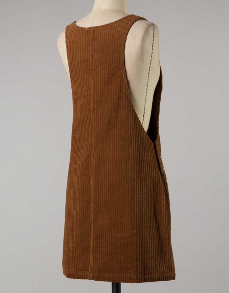 Brush Knit Corduroy Overall Dress