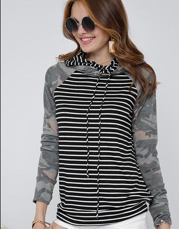 Striped Hoodie w/Long Camo Sleeve