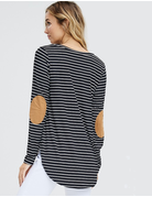 Striped Knit Suede Patch Top
