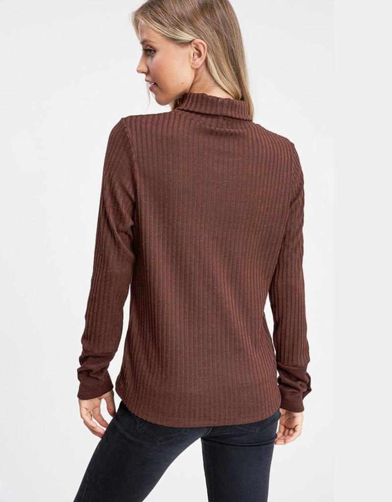Solid Knit Turtleneck w/ Button Trim