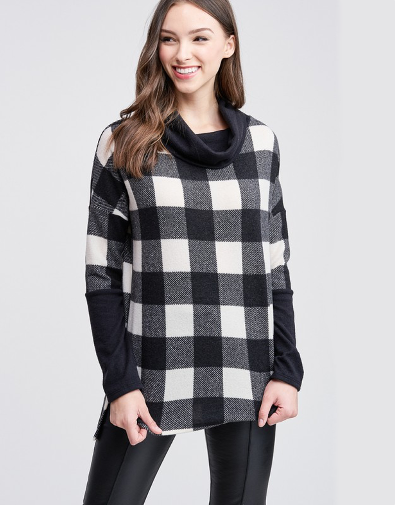 Checker Cowl Neck Knit Sweater