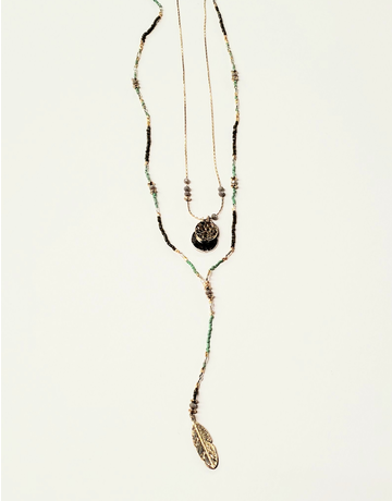 2 Layer Beaded Necklace w/Feather