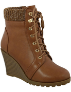 Lace Up Wedge Ankle Bootie