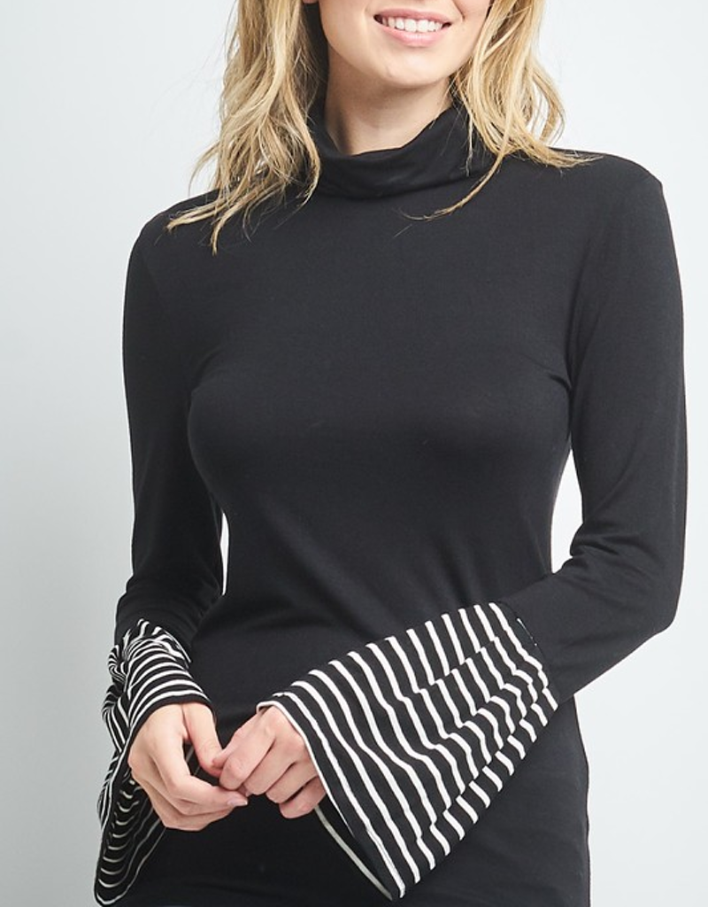 Long Sleeve w/ Striped Bell Sleeve Top