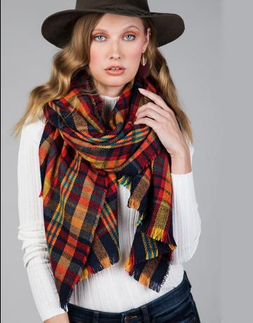 Plaid Frayed Winter Blanket Scarf