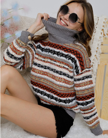 multi color stripe cowl neck sweater