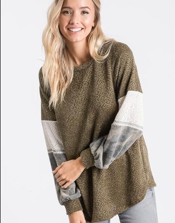 Cozy Velour Camo Sweater Top