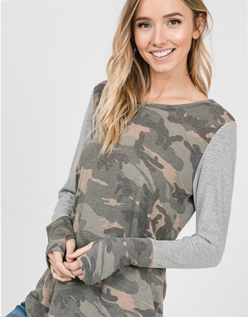 Two Toned Camo Striped Top