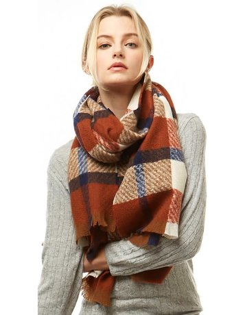 Plaid Oblong Scarf w/ Fringe
