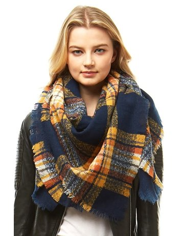 Square Plaid Blanket Scarf
