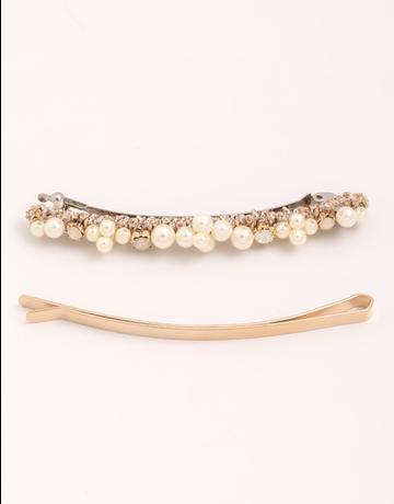 Thin Pearl Hair Barrette Set