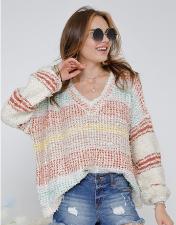 V-Neck Fluffy Shaggy Sweater