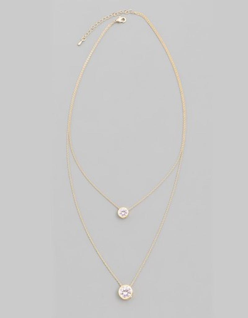 Double Sparkle Stone Necklace