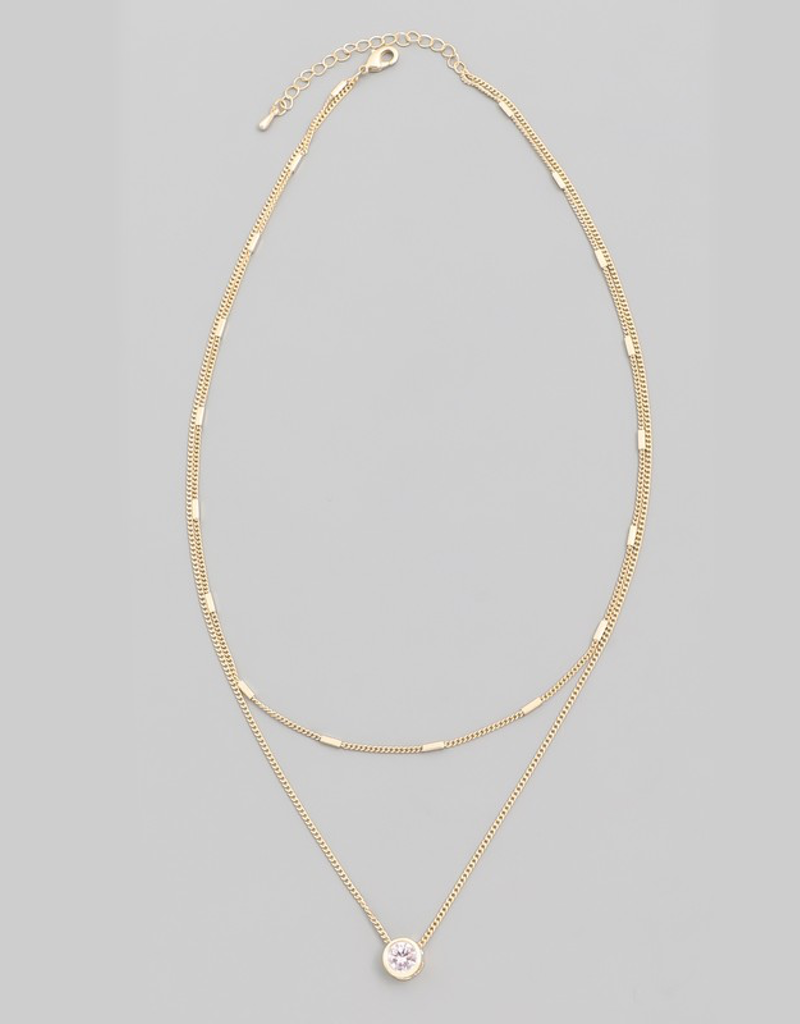 Dainty Layered Crystal Stud Necklace