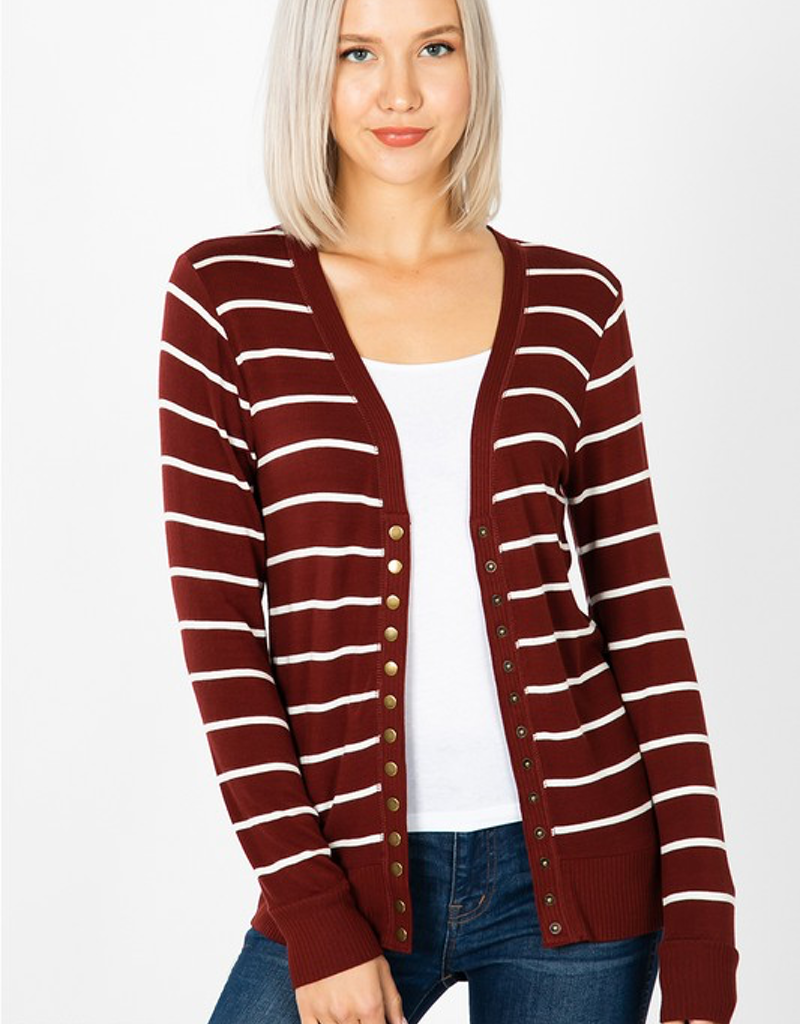 Striped Snap Cardigan Full Sleeve