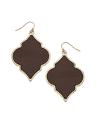 Wood Quatrefoil Earrings