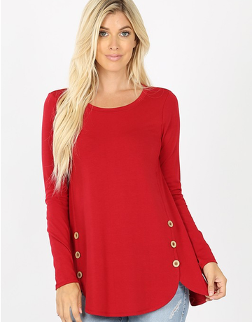 Long Sleeve Side Button Top