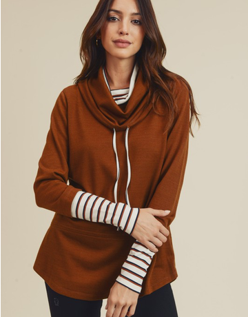 Double Cowl Neck Top With Stripe Detail