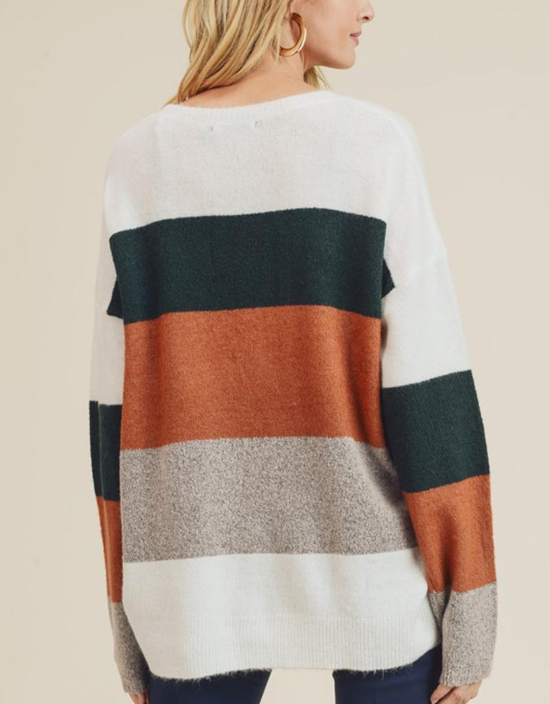 Multi Color Blocked Fuzzy Sweater
