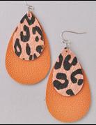 Double Leather Animal Print Earring