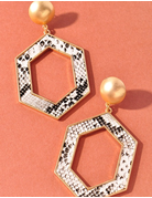 Snakeskin Open Cut Hexagon Earrings