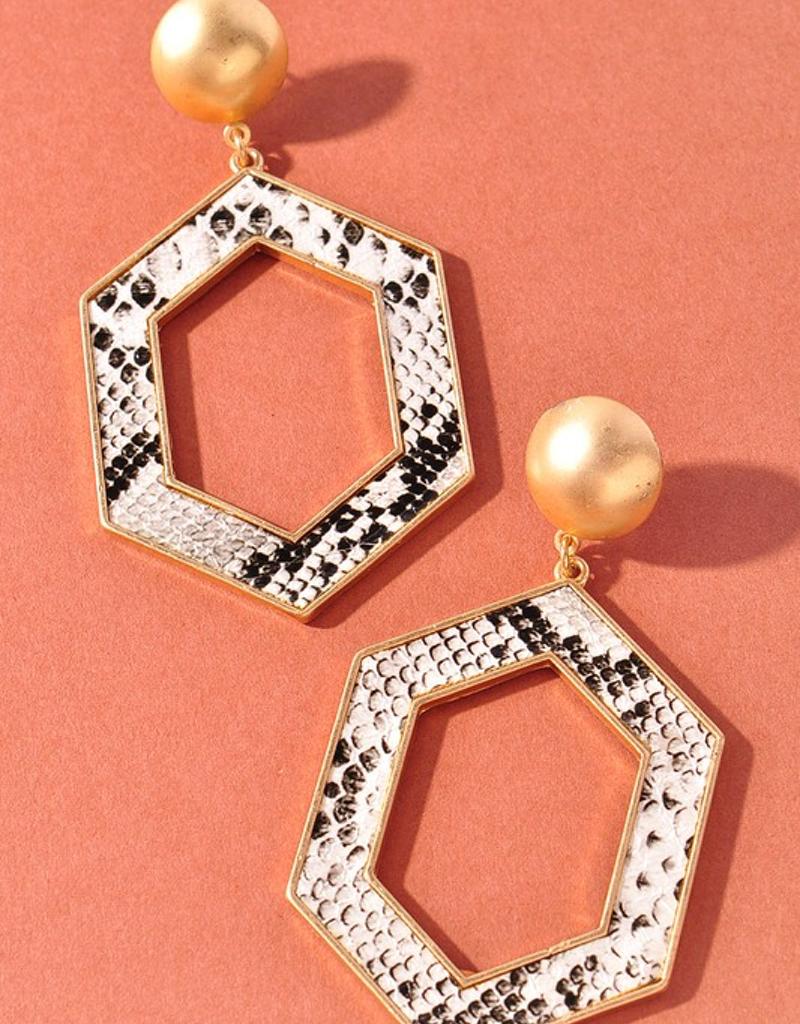 Snakeskin Open Cut Hexagon Earrings