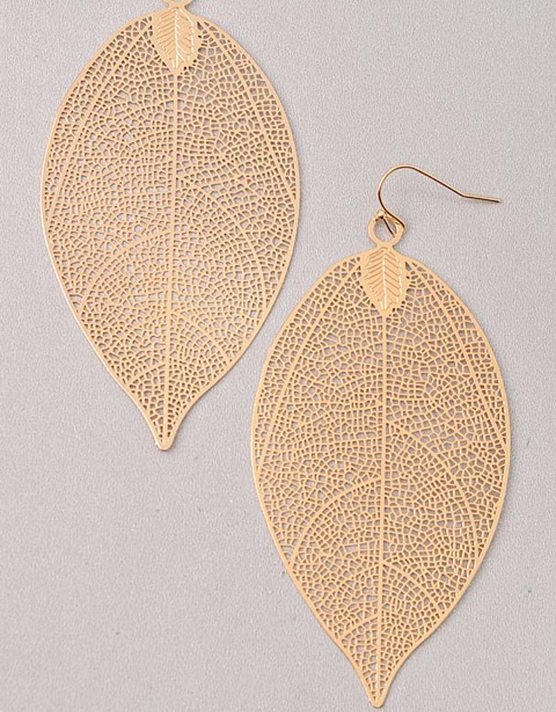 Cutout Drop Leaf Earring