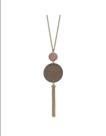 Druzy Wood Tassel Necklace