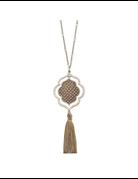 Python Quatrefoil Tassel Necklace