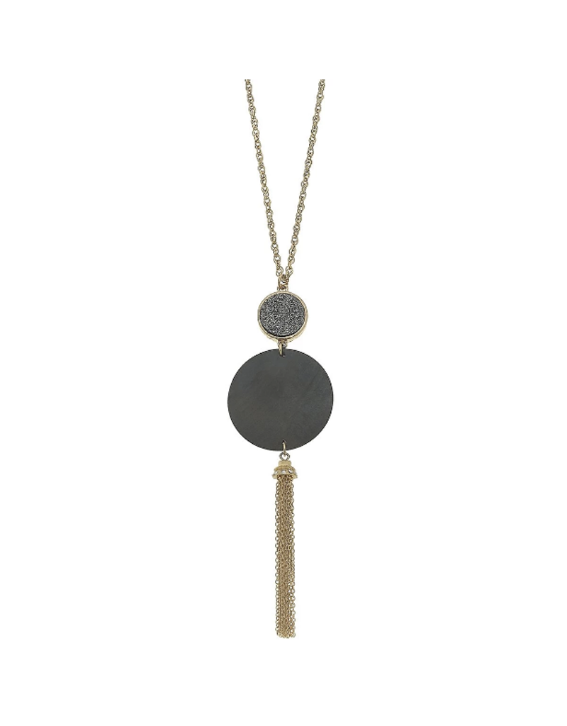 Druzy Wood Tassel Necklace