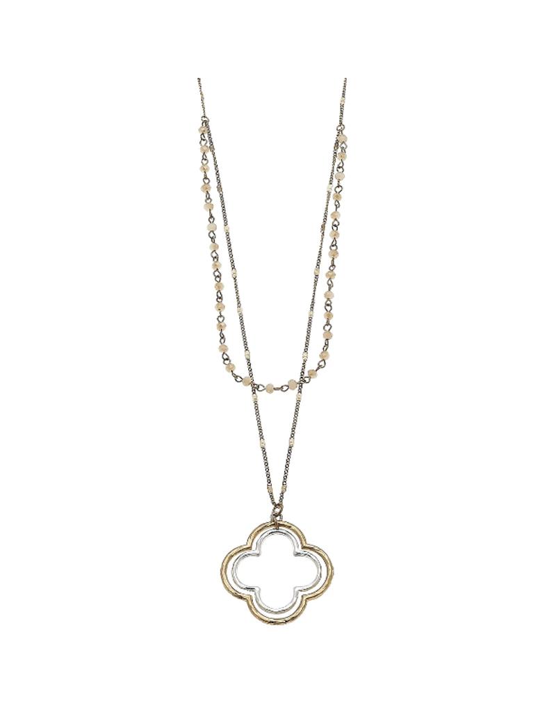 Layered Glass Quatrefoil Necklace