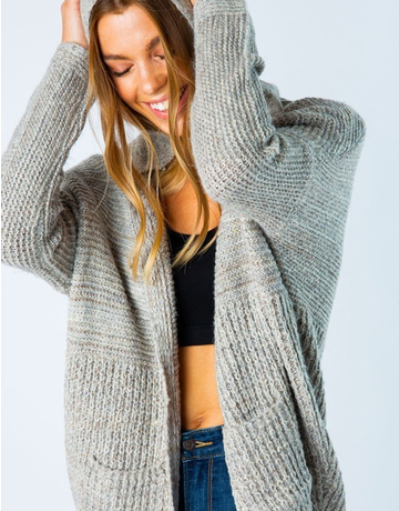 Chunky Contrast Knit Hoodie Cardigan