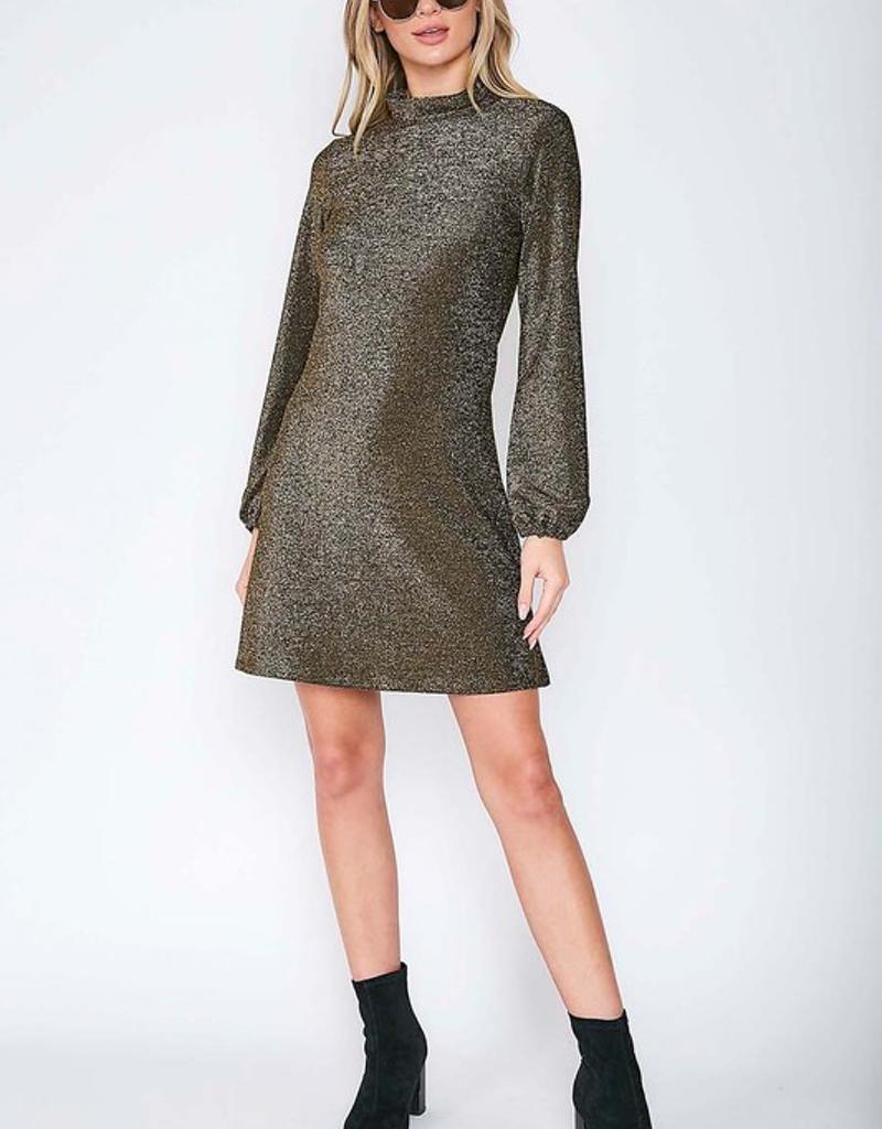 Shining Mock Neck Mini Dress