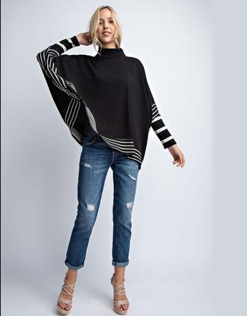 Long Sleeve Stripe Detail Poncho
