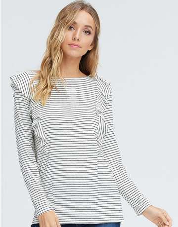 Striped Ruffled Long Sleeve Top