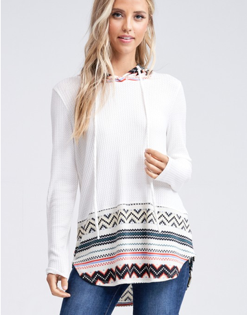 Solid Knit Sweater With Print Detail